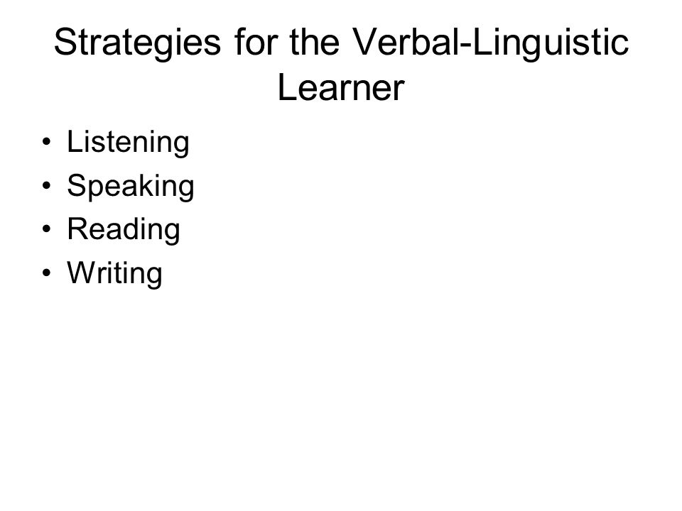 Strategies for the Verbal-Linguistic Learner Listening Speaking Reading Writing
