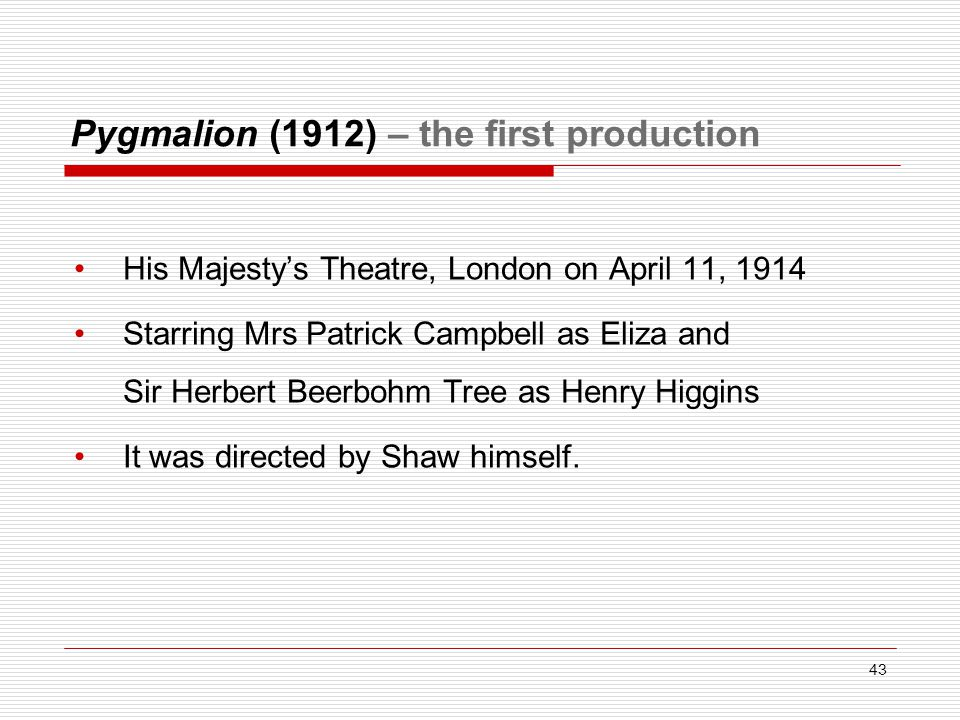 Pygmalion (1912) – the first production His Majesty's Theatre, London on April 11, 1914 Starring Mrs Patrick Campbell as Eliza and Sir Herbert Beerbohm Tree as Henry Higgins It was directed by Shaw himself.