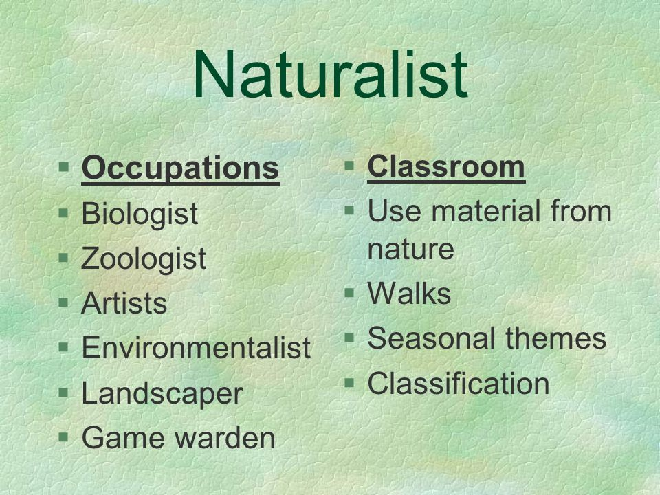 Naturalist §Occupations §Biologist §Zoologist §Artists §Environmentalist §Landscaper §Game warden §Classroom §Use material from nature §Walks §Seasonal themes §Classification