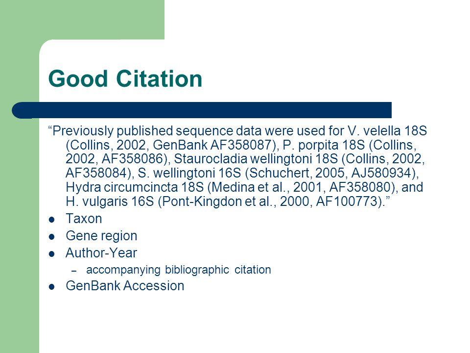 """Good Citation """"Previously published sequence data were used for V. velella 18S (Collins, 2002, GenBank AF358087), P. porpita 18S (Collins, 2002, AF358"""