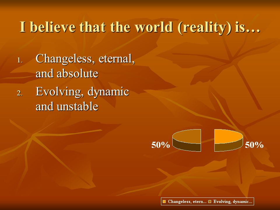I believe that the world (reality) is… 1.Changeless, eternal, and absolute 2.