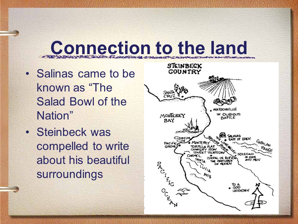 Connection to the land Salinas came to be known as The Salad Bowl of the Nation Steinbeck was compelled to write about his beautiful surroundings
