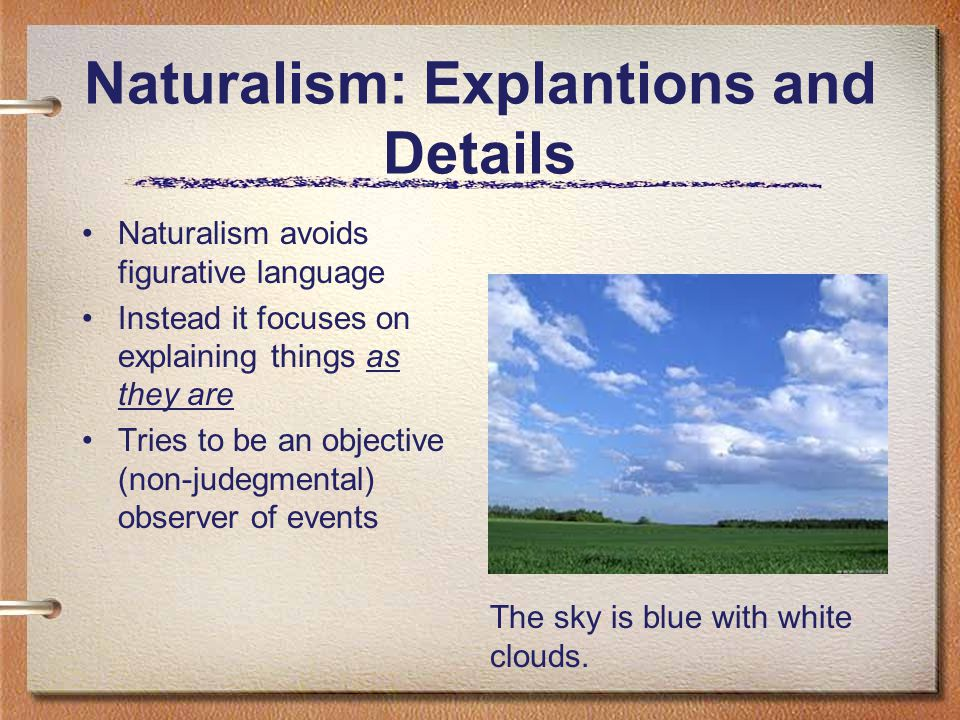 Naturalism: Explantions and Details Naturalism avoids figurative language Instead it focuses on explaining things as they are Tries to be an objective
