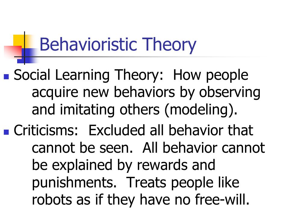 Behaviorism B.F. Skinner, 1950's. Dismissed importance of inherited traits and instincts about human behavior. Private events can be studied as long a