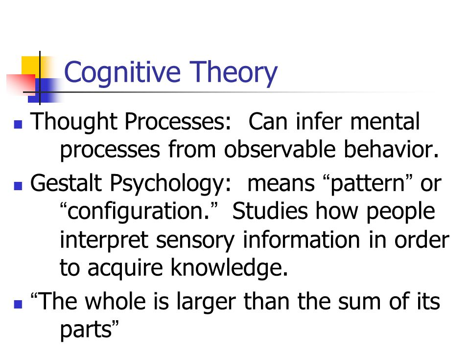 Cognitive Theory Thinking: how mental thoughts affect behavior.