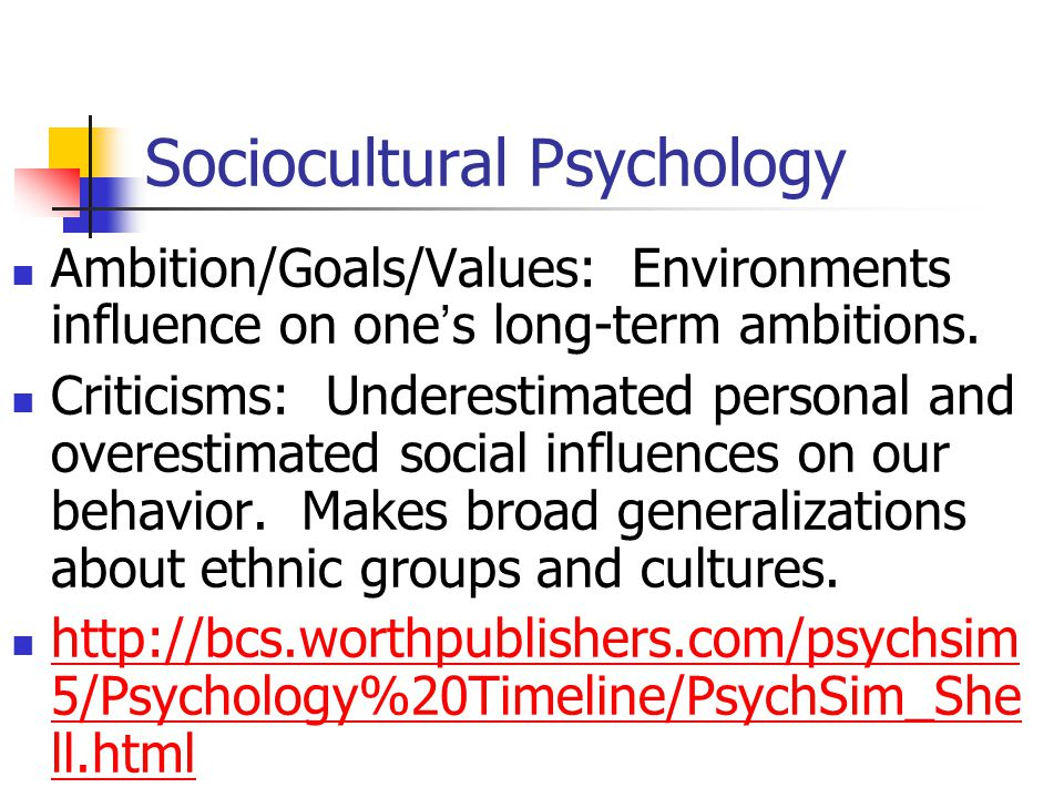 Sociocultural Psychology It is NOT intrapsychic: Within the mind or self.