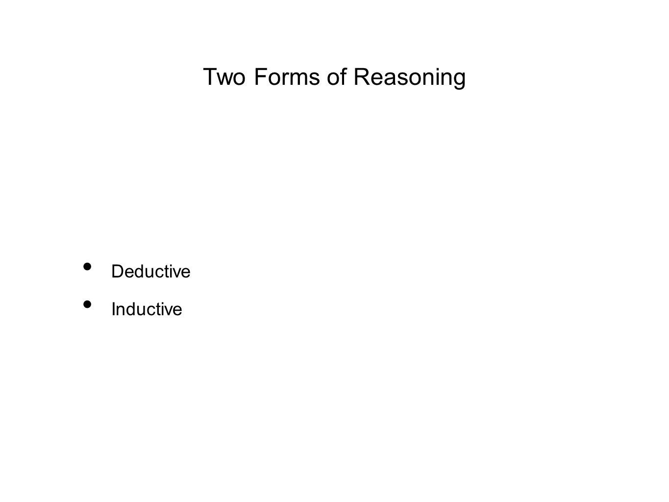 Two Forms of Reasoning Deductive Inductive