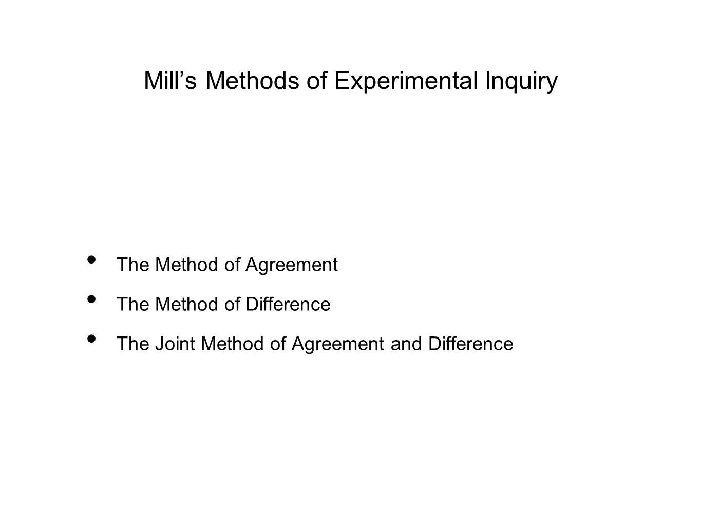 Mill's Methods of Experimental Inquiry The Method of Agreement The Method of Difference The Joint Method of Agreement and Difference