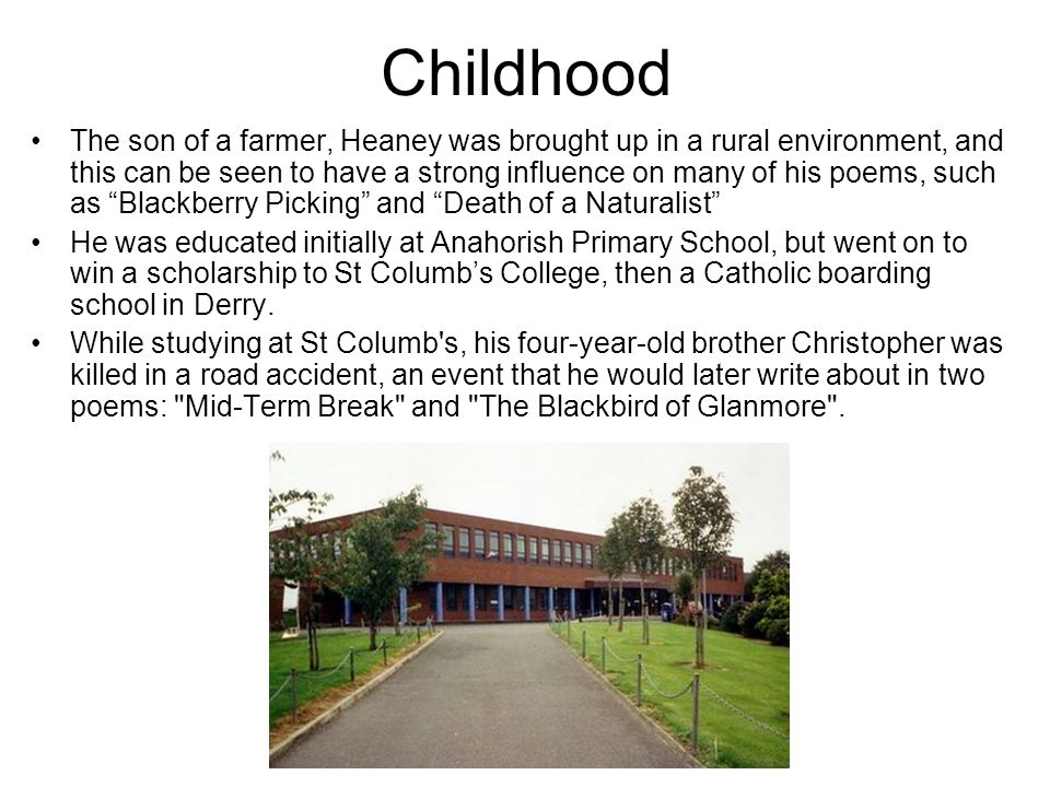 Childhood The son of a farmer, Heaney was brought up in a rural environment, and this can be seen to have a strong influence on many of his poems, such as Blackberry Picking and Death of a Naturalist He was educated initially at Anahorish Primary School, but went on to win a scholarship to St Columb's College, then a Catholic boarding school in Derry.