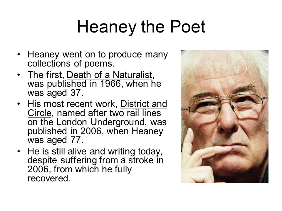 Heaney the Poet Heaney went on to produce many collections of poems.