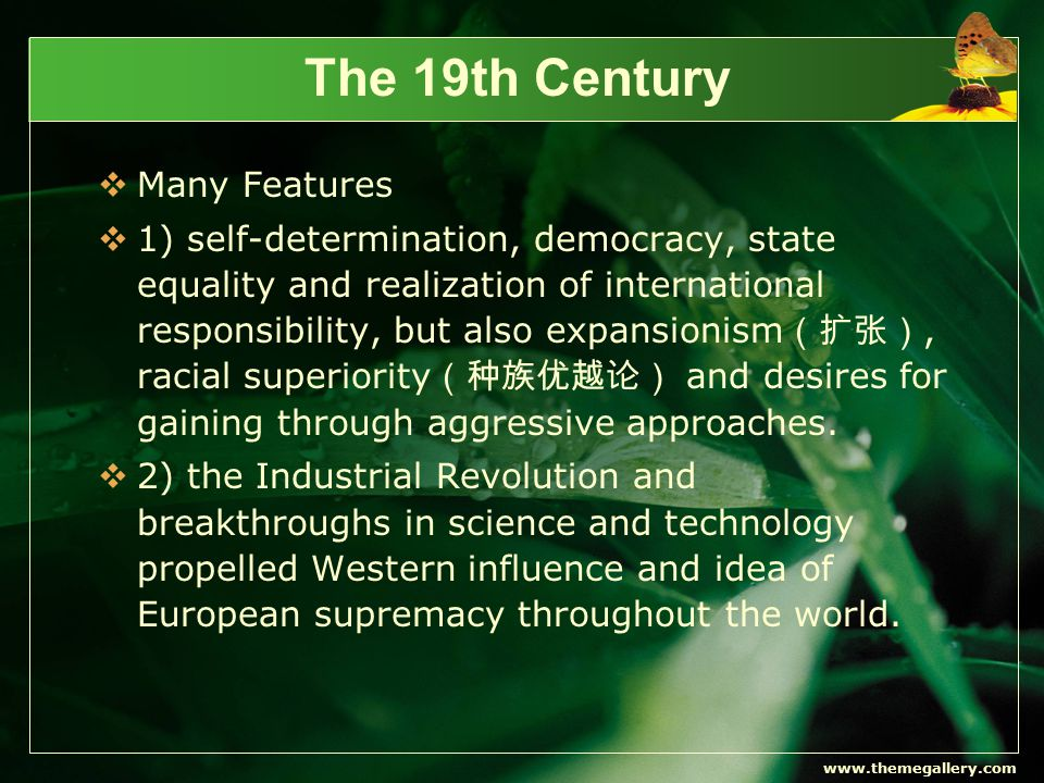 www.themegallery.com The 19th Century  Many Features  1) self-determination, democracy, state equality and realization of international responsibility, but also expansionism (扩张), racial superiority (种族优越论) and desires for gaining through aggressive approaches.