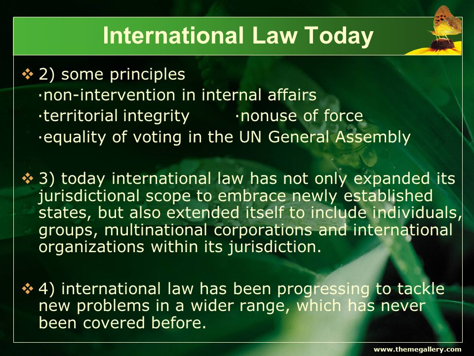 www.themegallery.com International Law Today  5) there are some serious problems that hinder the development of international judicial system and the creation of fair and just international order.