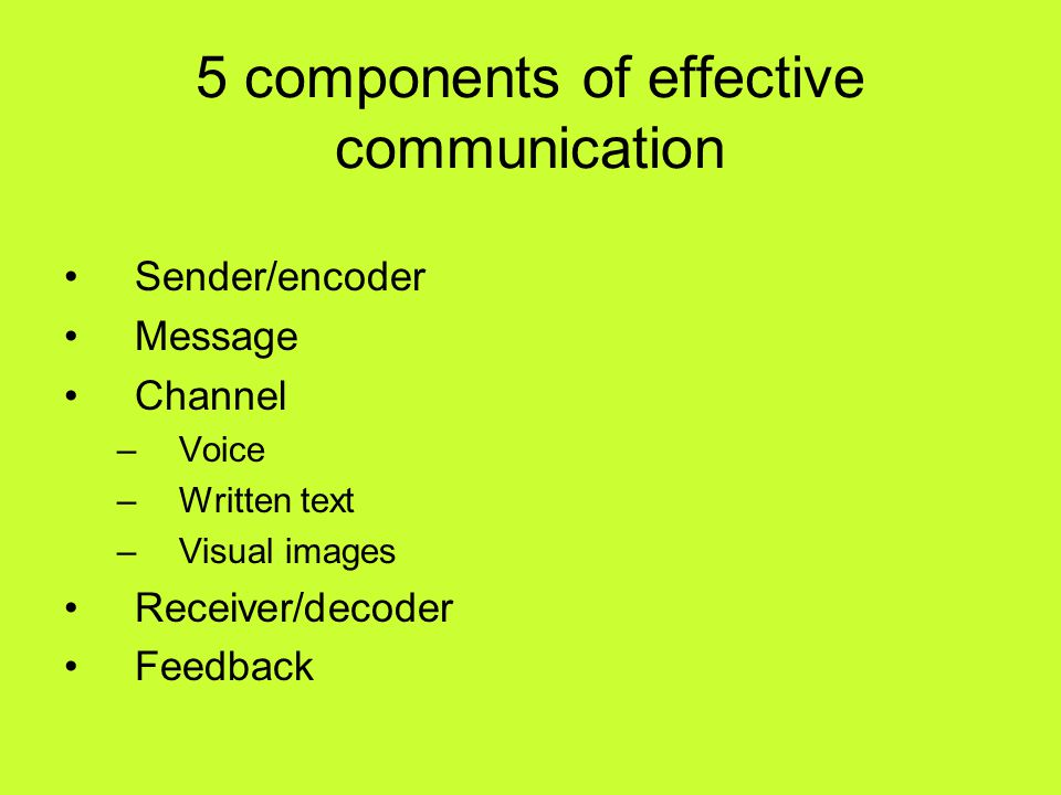 5 components of effective communication Sender/encoder Message Channel –Voice –Written text –Visual images Receiver/decoder Feedback