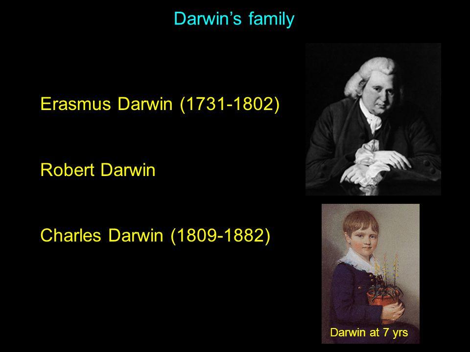 Erasmus Darwin (1731-1802) Robert Darwin Charles Darwin (1809-1882) Darwin's family Darwin at 7 yrs