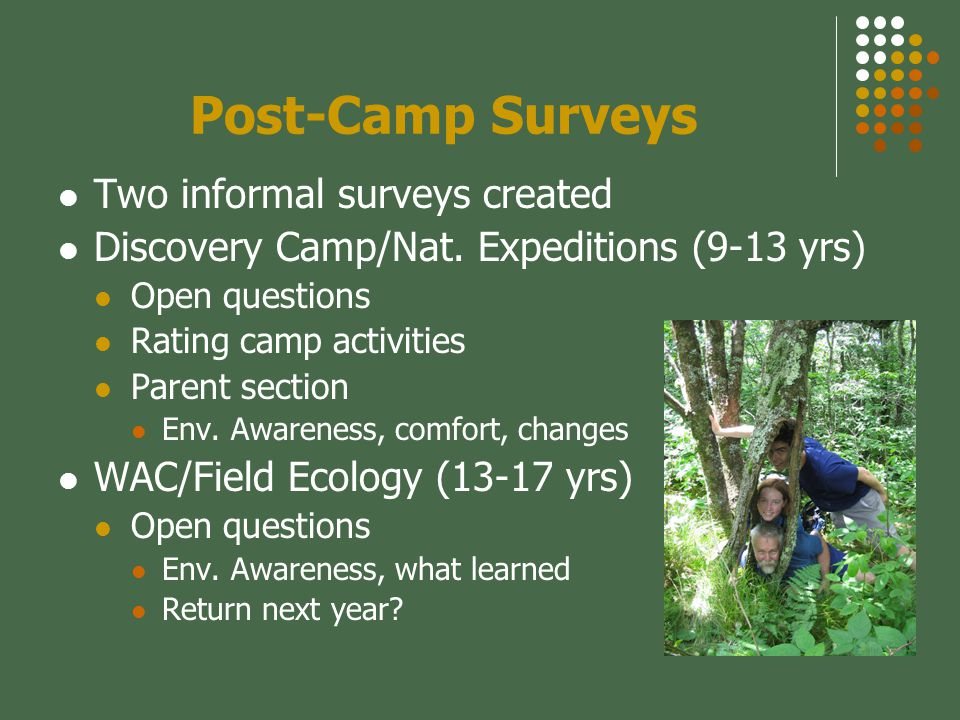 Post-Camp Surveys Two informal surveys created Discovery Camp/Nat.