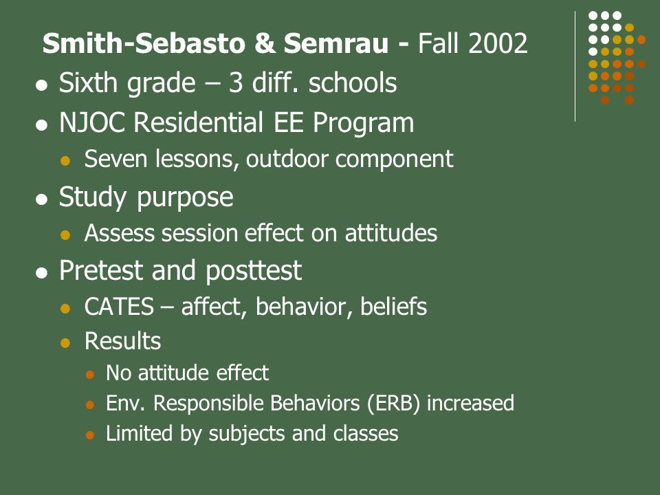 Smith-Sebasto & Semrau - Fall 2002 Sixth grade – 3 diff.