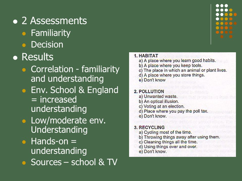 2 Assessments Familiarity Decision Results Correlation - familiarity and understanding Env.
