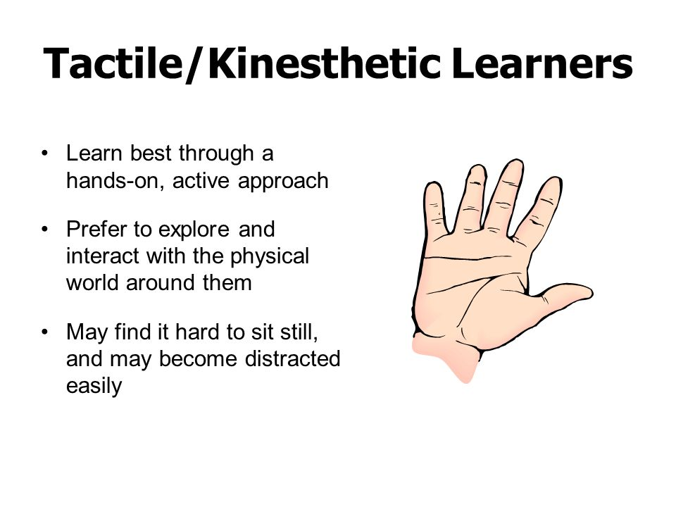 Tactile/Kinesthetic Learners Learn best through a hands-on, active approach Prefer to explore and interact with the physical world around them May fin