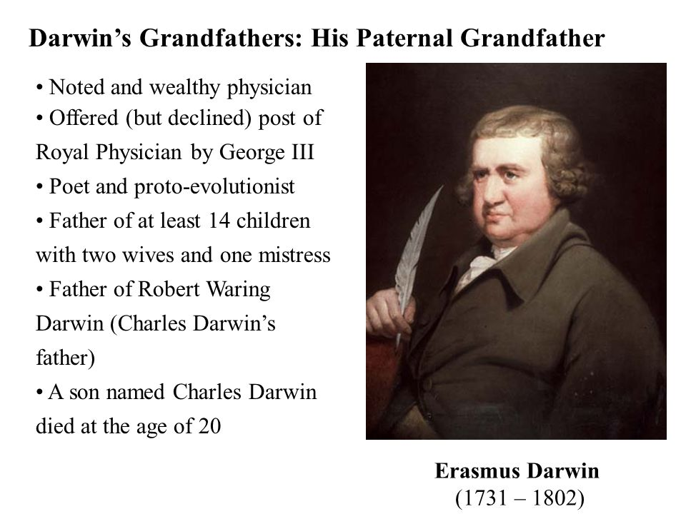 Darwin's Grandfathers: His Paternal Grandfather Noted and wealthy physician Offered (but declined) post of Royal Physician by George III Poet and prot
