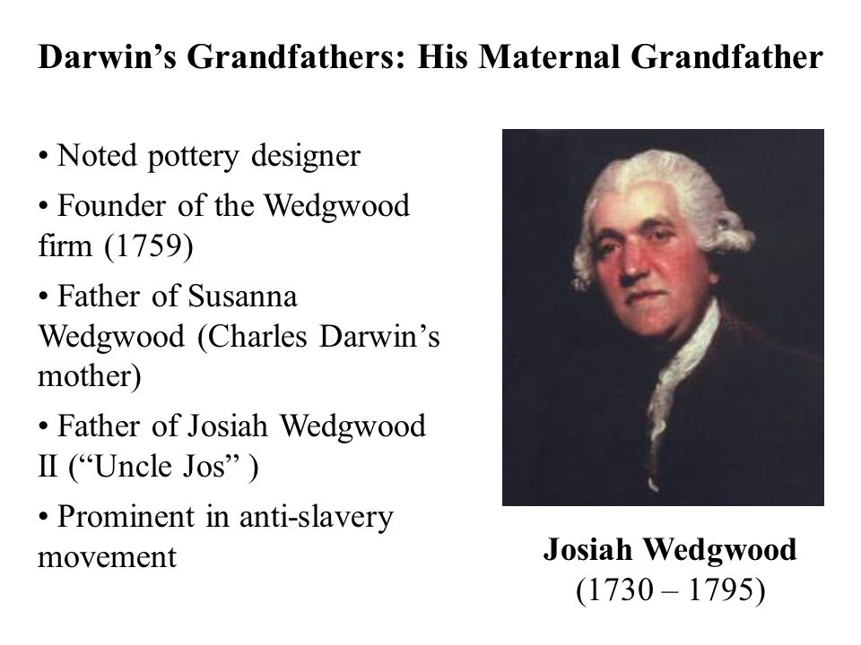Darwin's Grandfathers: His Maternal Grandfather Noted pottery designer Founder of the Wedgwood firm (1759) Father of Susanna Wedgwood (Charles Darwin'