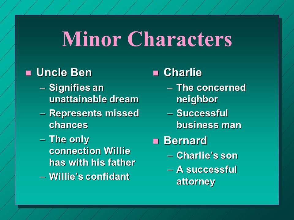 Minor Characters n Uncle Ben –Signifies an unattainable dream –Represents missed chances –The only connection Willie has with his father –Willie's con