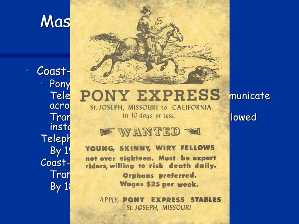 Mass Communication and Migration Coast-to-coast communicationCoast-to-coast communication Pony Express (1860)—10 daysPony Express (1860)—10 days Telegraph (1861)—just seconds to communicate across country Transatlantic telegraph cable (1866) allowed instant communicate with Europe Telephone patented (1867) By 1900, 1.3 million telephones in U.S.
