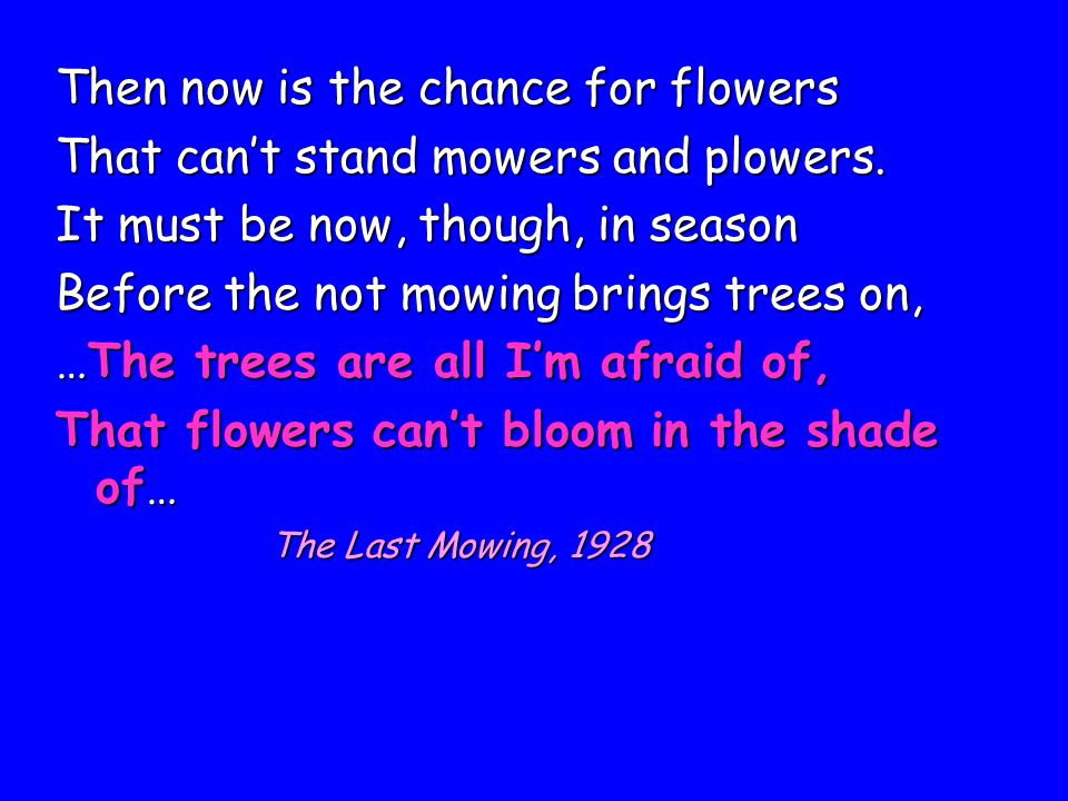 Then now is the chance for flowers That can't stand mowers and plowers. It must be now, though, in season Before the not mowing brings trees on, …The