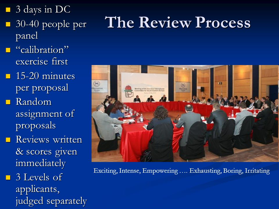 The Review Process 3 days in DC 3 days in DC 30-40 people per panel 30-40 people per panel calibration exercise first calibration exercise first 15-20 minutes per proposal 15-20 minutes per proposal Random assignment of proposals Random assignment of proposals Reviews written & scores given immediately Reviews written & scores given immediately 3 Levels of applicants, judged separately 3 Levels of applicants, judged separately Exciting, Intense, Empowering ….