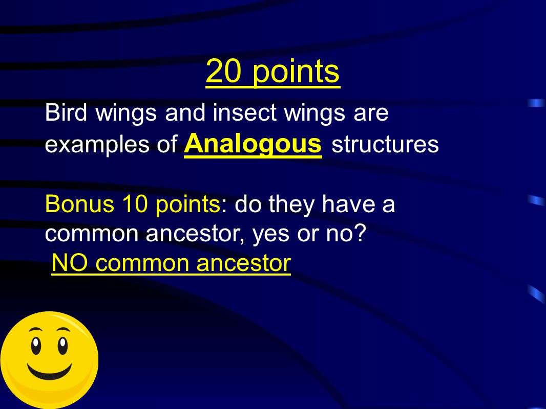 20 points Bird wings and insect wings are examples of Analogous structures Bonus 10 points: do they have a common ancestor, yes or no? NO common ances