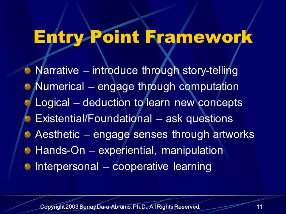 Copyright 2003 Benay Dara-Abrams, Ph.D., All Rights Reserved.11 Entry Point Framework Narrative – introduce through story-telling Numerical – engage through computation Logical – deduction to learn new concepts Existential/Foundational – ask questions Aesthetic – engage senses through artworks Hands-On – experiential, manipulation Interpersonal – cooperative learning
