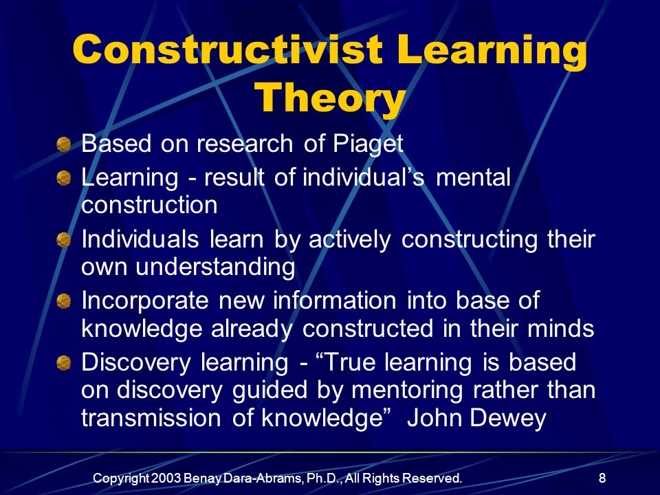 Copyright 2003 Benay Dara-Abrams, Ph.D., All Rights Reserved.8 Constructivist Learning Theory Based on research of Piaget Learning - result of individual's mental construction Individuals learn by actively constructing their own understanding Incorporate new information into base of knowledge already constructed in their minds Discovery learning - True learning is based on discovery guided by mentoring rather than transmission of knowledge John Dewey