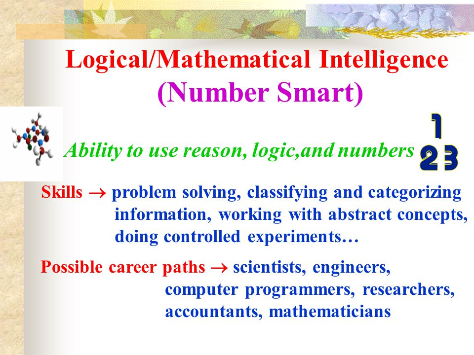 Visual/Spatial Intelligence (Picture Smart) Ability to think in pictures, visualize the result Skills  puzzle building, understanding charts/graphs, a good sense of direction, sketching, painting, designing practical objects, constructing… Possible career paths  navigators, sculptors, visual artists, photographers, architects, interior designers…