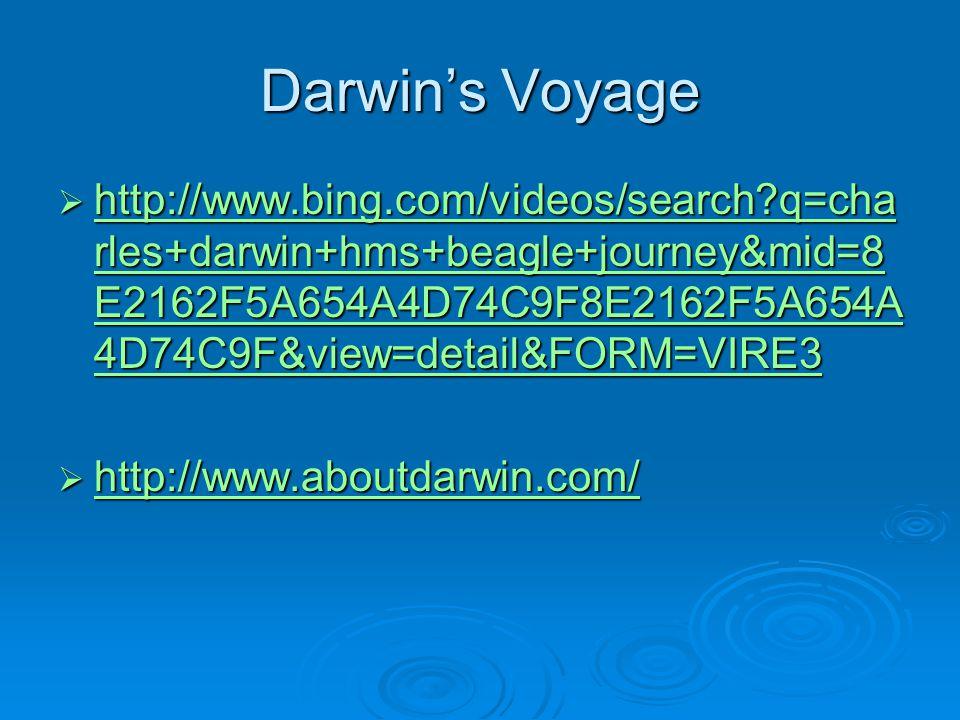 Darwin's Voyage  http://www.bing.com/videos/search q=cha rles+darwin+hms+beagle+journey&mid=8 E2162F5A654A4D74C9F8E2162F5A654A 4D74C9F&view=detail&FORM=VIRE3 http://www.bing.com/videos/search q=cha rles+darwin+hms+beagle+journey&mid=8 E2162F5A654A4D74C9F8E2162F5A654A 4D74C9F&view=detail&FORM=VIRE3 http://www.bing.com/videos/search q=cha rles+darwin+hms+beagle+journey&mid=8 E2162F5A654A4D74C9F8E2162F5A654A 4D74C9F&view=detail&FORM=VIRE3  http://www.aboutdarwin.com/ http://www.aboutdarwin.com/