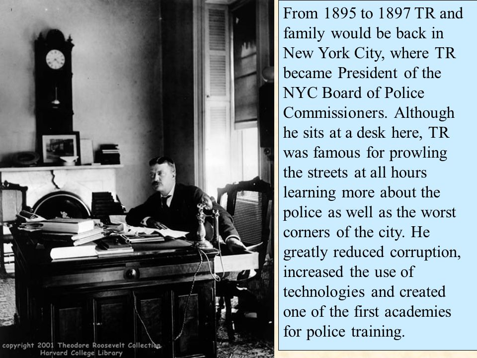 From 1895 to 1897 TR and family would be back in New York City, where TR became President of the NYC Board of Police Commissioners.
