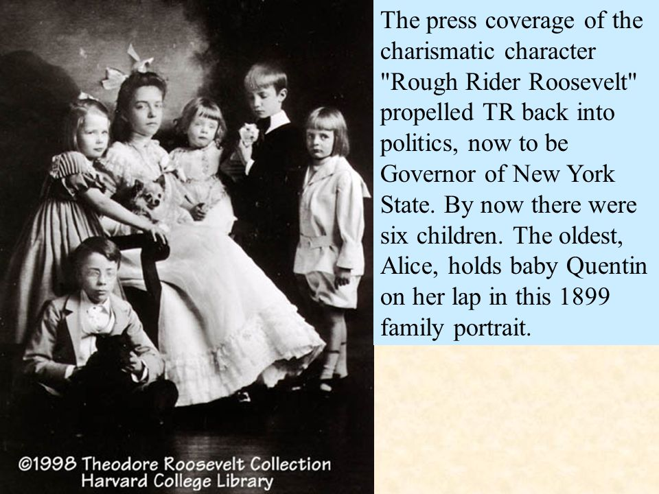 The press coverage of the charismatic character Rough Rider Roosevelt propelled TR back into politics, now to be Governor of New York State.