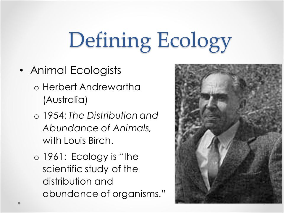 """Defining Ecology Animal Ecologists o Charles Elton (UK) - the food web and ecosystem o 1927: Ecology is the science """"chiefly concerned with what may b"""