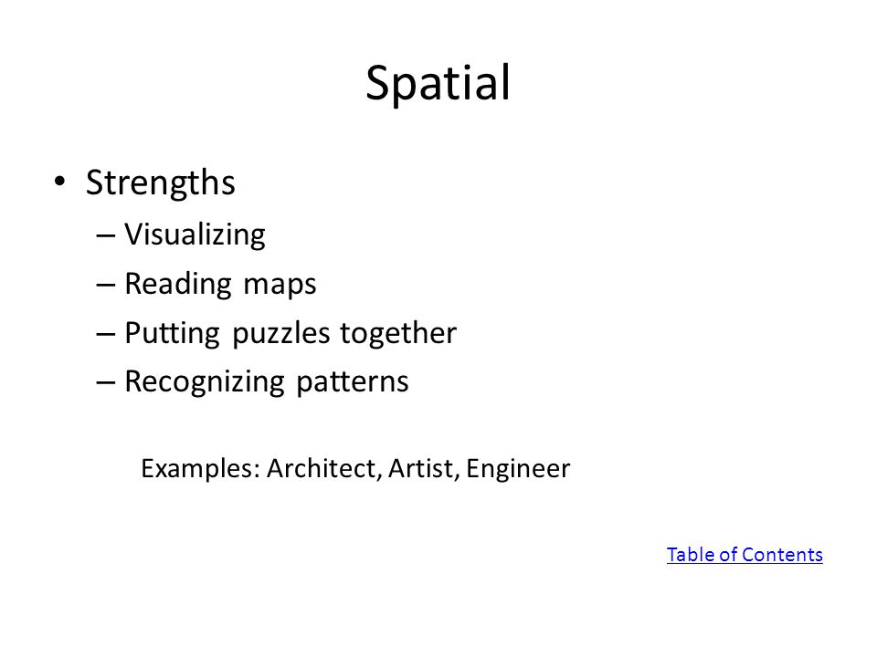 Spatial Strengths – Visualizing – Reading maps – Putting puzzles together – Recognizing patterns Examples: Architect, Artist, Engineer Table of Contents