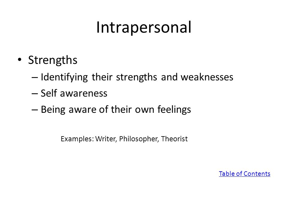 Intrapersonal Strengths – Identifying their strengths and weaknesses – Self awareness – Being aware of their own feelings Examples: Writer, Philosopher, Theorist Table of Contents