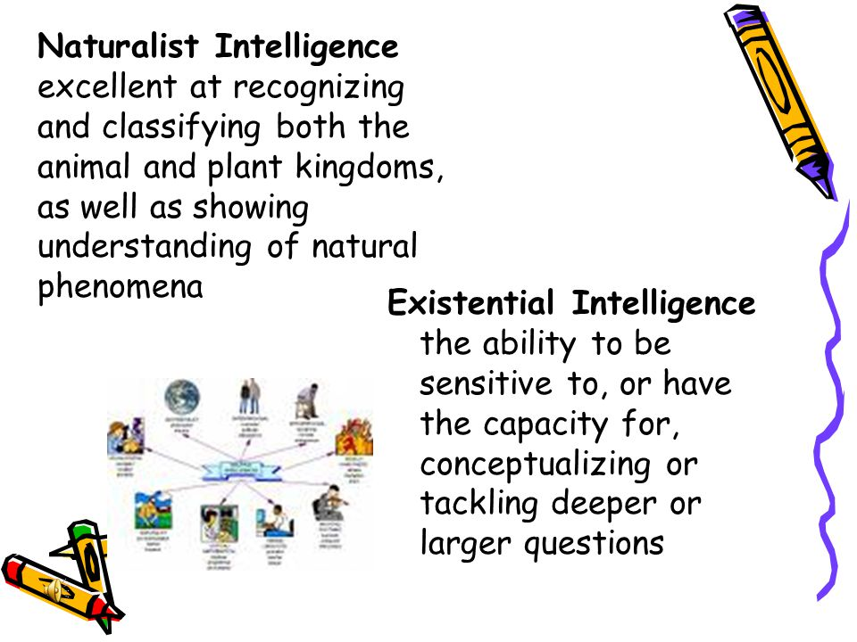 Existential Intelligence the ability to be sensitive to, or have the capacity for, conceptualizing or tackling deeper or larger questions Naturalist I