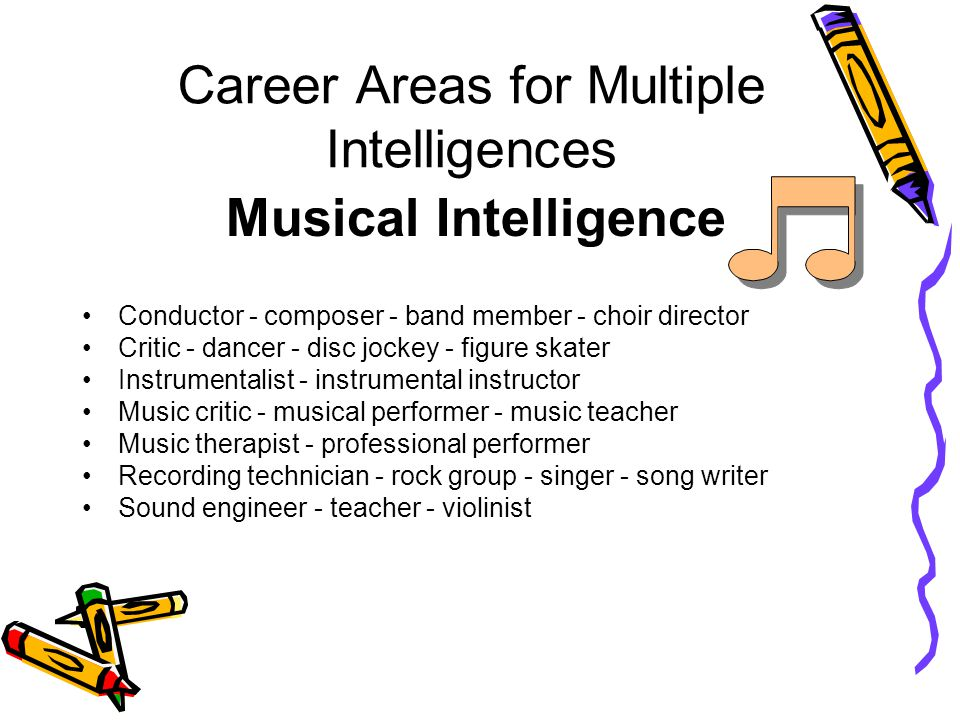 Career Areas for Multiple Intelligences Musical Intelligence Conductor - composer - band member - choir director Critic - dancer - disc jockey - figure skater Instrumentalist - instrumental instructor Music critic - musical performer - music teacher Music therapist - professional performer Recording technician - rock group - singer - song writer Sound engineer - teacher - violinist