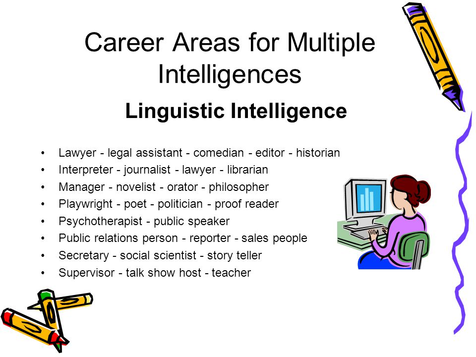 Career Areas for Multiple Intelligences Linguistic Intelligence Lawyer - legal assistant - comedian - editor - historian Interpreter - journalist - lawyer - librarian Manager - novelist - orator - philosopher Playwright - poet - politician - proof reader Psychotherapist - public speaker Public relations person - reporter - sales people Secretary - social scientist - story teller Supervisor - talk show host - teacher