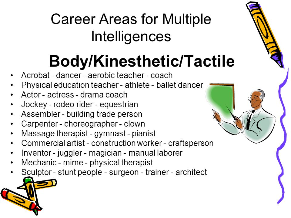 Career Areas for Multiple Intelligences Body/Kinesthetic/Tactile Acrobat - dancer - aerobic teacher - coach Physical education teacher - athlete - ballet dancer Actor - actress - drama coach Jockey - rodeo rider - equestrian Assembler - building trade person Carpenter - choreographer - clown Massage therapist - gymnast - pianist Commercial artist - construction worker - craftsperson Inventor - juggler - magician - manual laborer Mechanic - mime - physical therapist Sculptor - stunt people - surgeon - trainer - architect