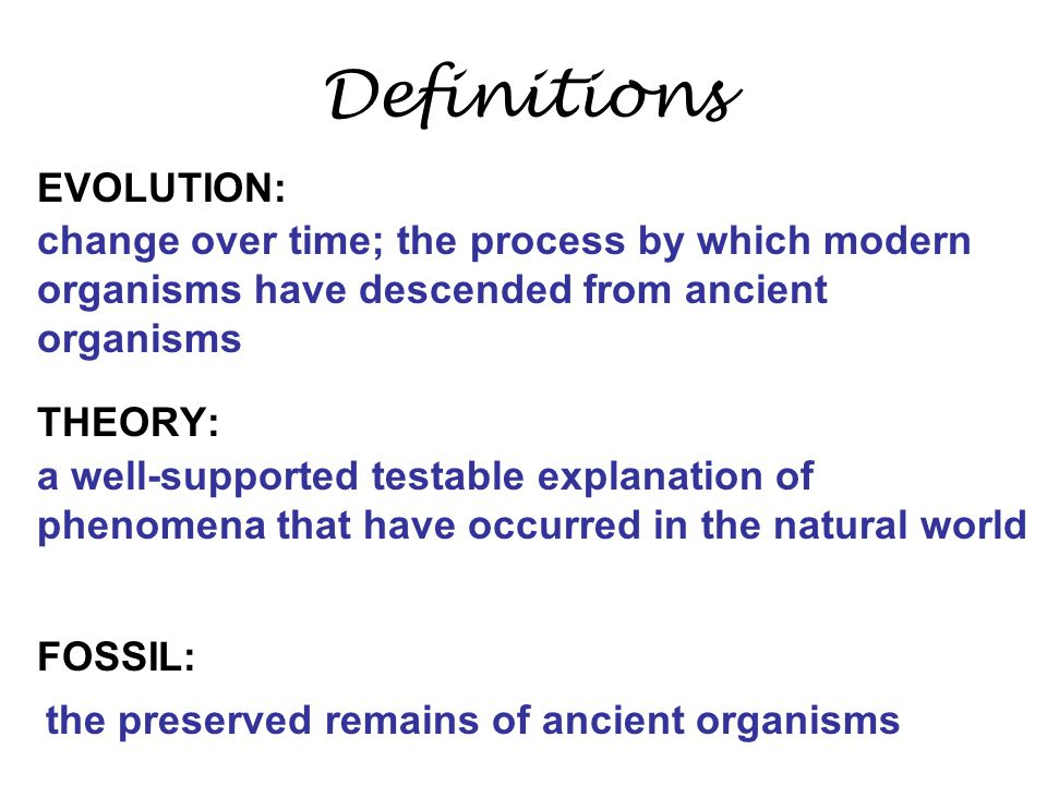 evolution fossil theory The _______ that Darwin found caused him to ask questions that led to his proposal of the theory of _________.