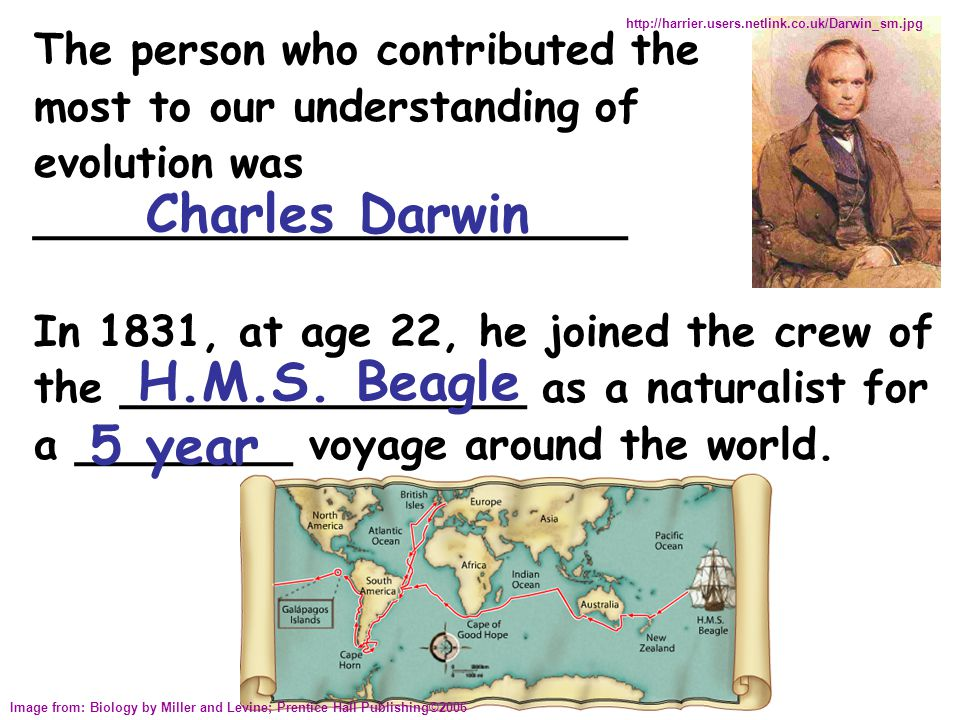 Charles Darwin English naturalist (1831) Set sail on the Beagle for a voyage around the world During his travels, Darwin made many observations & collected a great deal of evidence, leading him to propose the theory of evolution