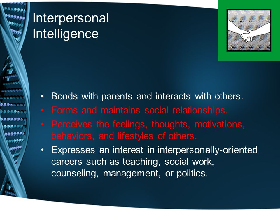 Interpersonal Intelligence Bonds with parents and interacts with others.