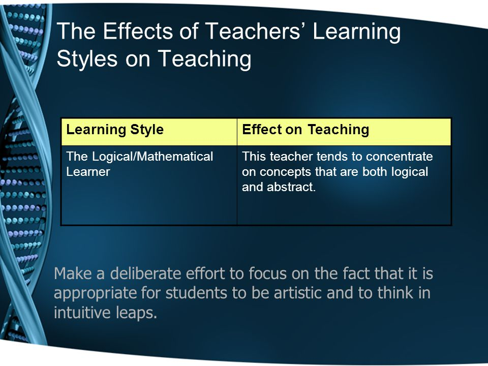 The Effects of Teachers' Learning Styles on Teaching Learning StyleEffect on Teaching The Logical/Mathematical Learner This teacher tends to concentrate on concepts that are both logical and abstract.