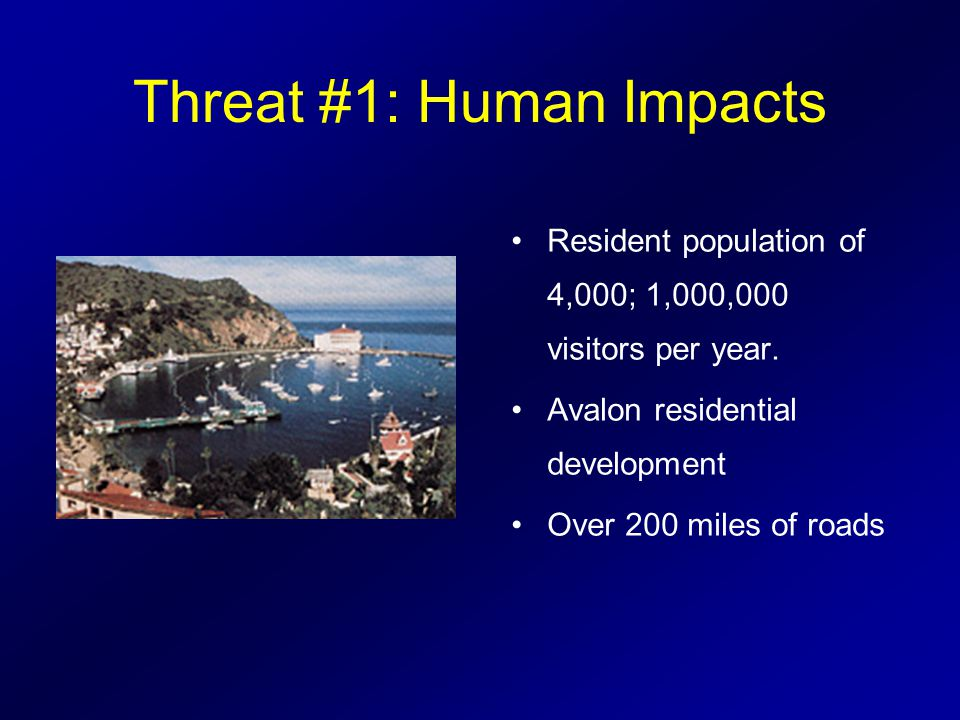 Threat #1: Human Impacts Resident population of 4,000; 1,000,000 visitors per year.