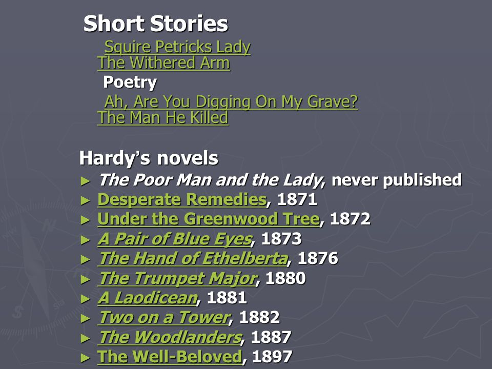 Short Stories Short Stories Squire Petricks Lady The Withered Arm Squire Petricks Lady The Withered ArmSquire Petricks Lady The Withered ArmSquire Petricks Lady The Withered Arm Poetry Poetry Ah, Are You Digging On My Grave.