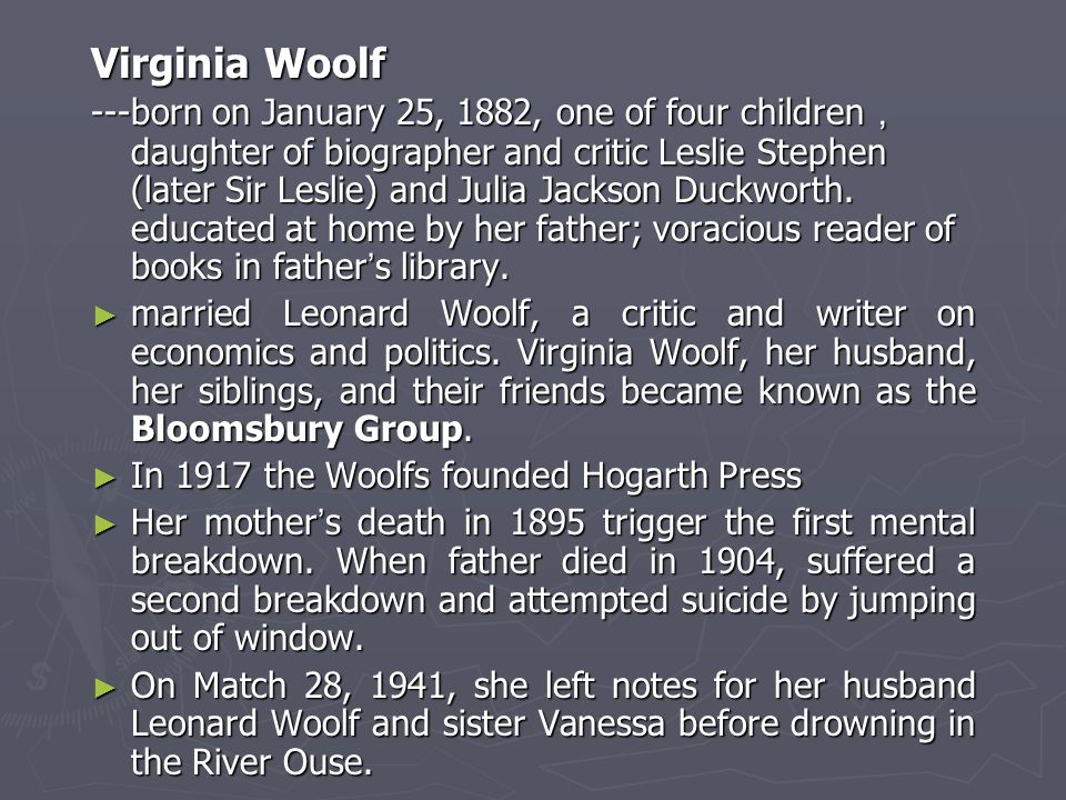 Virginia Woolf ---born on January 25, 1882, one of four children , daughter of biographer and critic Leslie Stephen (later Sir Leslie) and Julia Jackson Duckworth.
