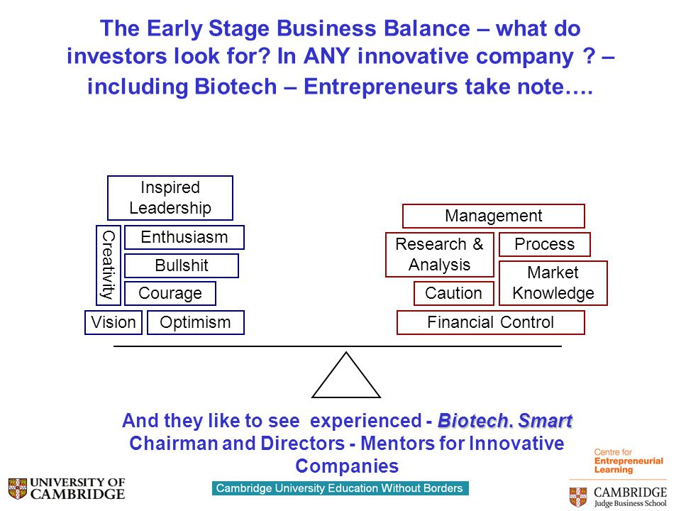 More Advice and Personal Opinions  Understand the complete $$$$ requirement to exit….and the available $$$$ supply chain  Work with early stage funders connected with the later stage funds  Take Darwin's work to heart – Strategic Partners on board early make a difference- Symbiosis is a Biotech Characteristic  If at first you don't succeed…..try, try, and try again….